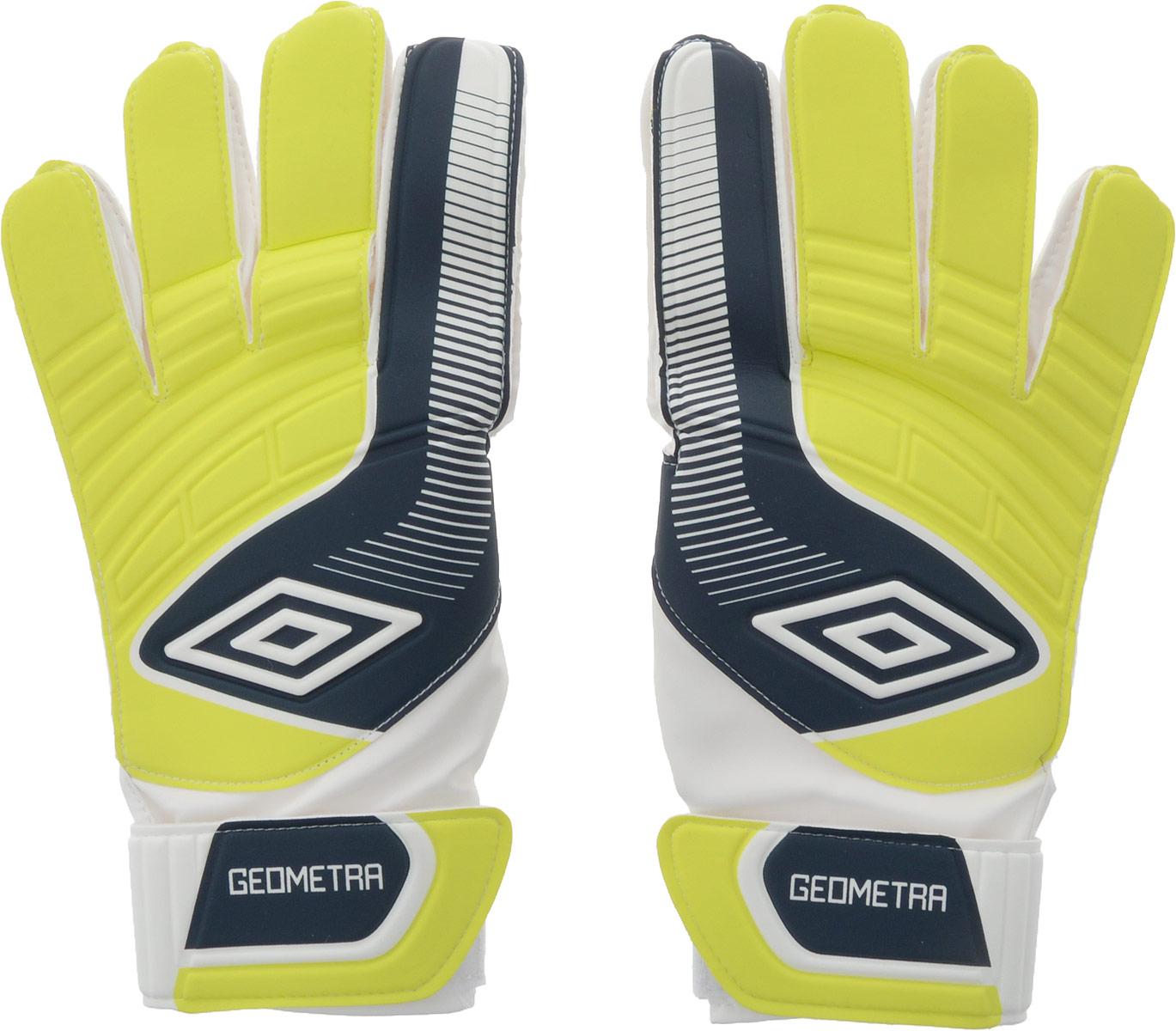 Перчатки вратарские Umbro Geometra Cup Glove, цвет: белый, темно-синий. 20390U. Размер 1020390UПерчатки вратарские для игроков разного уровня подготовки. Ладонь из латекса 3мм. Вставки из сетки для вентиляции. Эмбоссированная защита зоны удара.