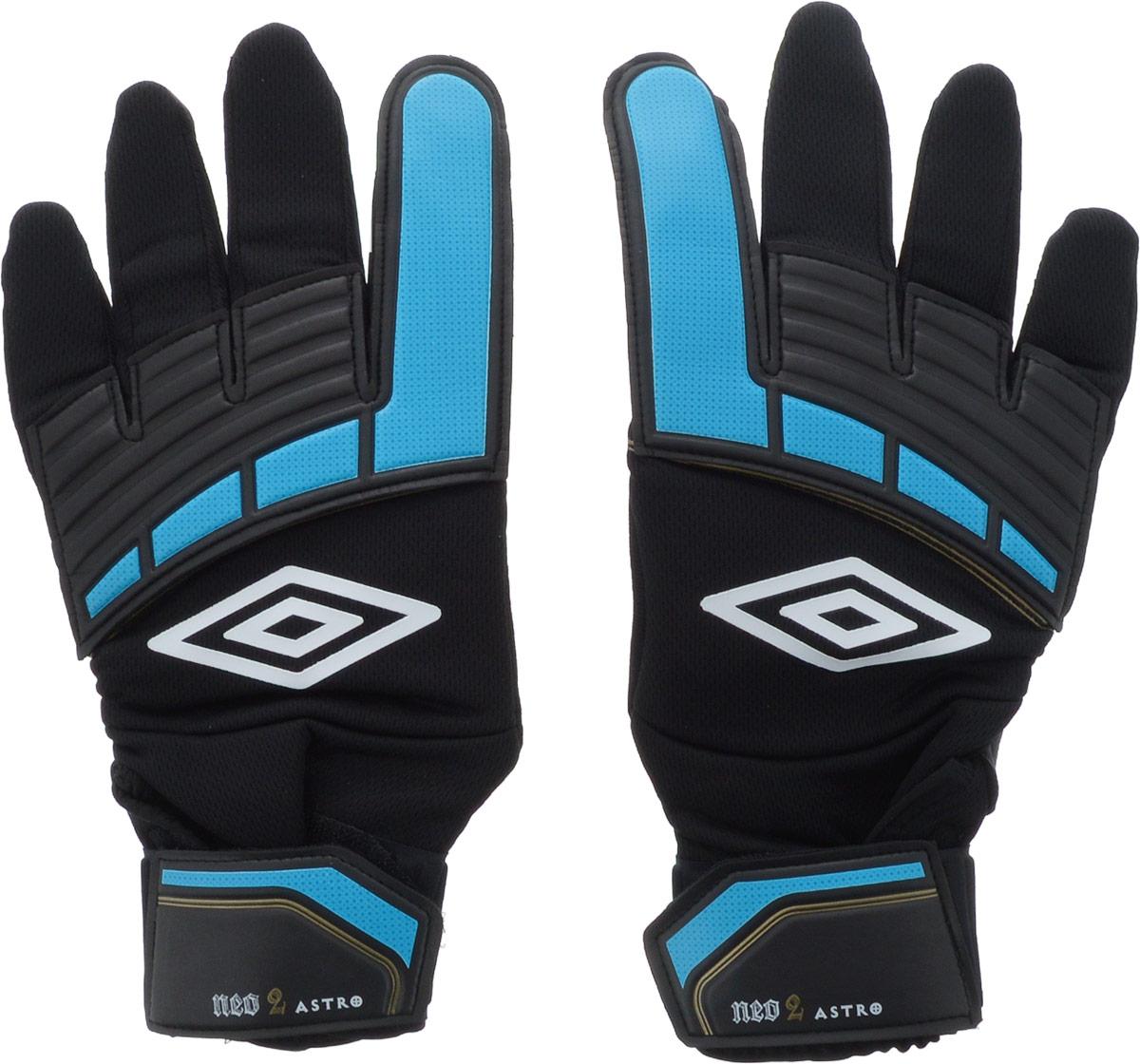 Перчатки вратарские Umbro Neo Astro Glove, цвет: черный, синий, золотой. Размер 1120431UПерчатки вратарские для игроков разного уровня подготовки. Ладонь из латекса 3мм. Вставки из сетки для вентиляции. Эмбоссированная защита зоны удара.