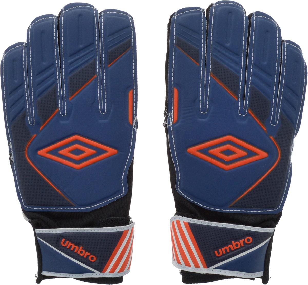 Перчатки вратарские Umbro Stadia Glove Jnr, цвет: синий, темно-синий, оранжевый. Размер 420580UПерчатки вратарские детские. Ладонь из латекса 3мм. Вставки из сетки для вентиляции. Эмбоссированная защита зоны удара.