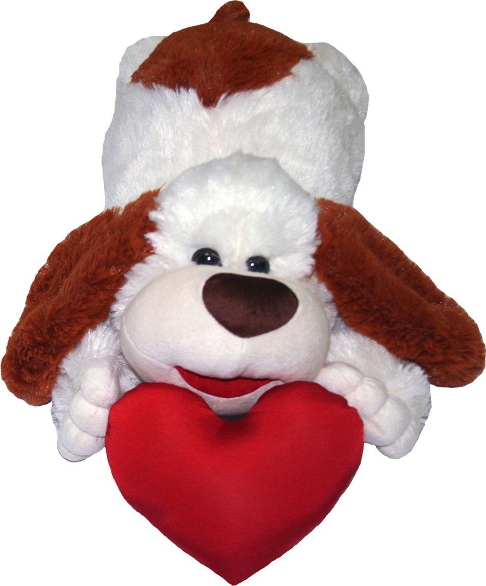 СмолТойс Мягкая игрушка Пес с сердцем 53 см 1682/БЖ смолтойс мягкая игрушка зайка даша цвет салатовый 41 см