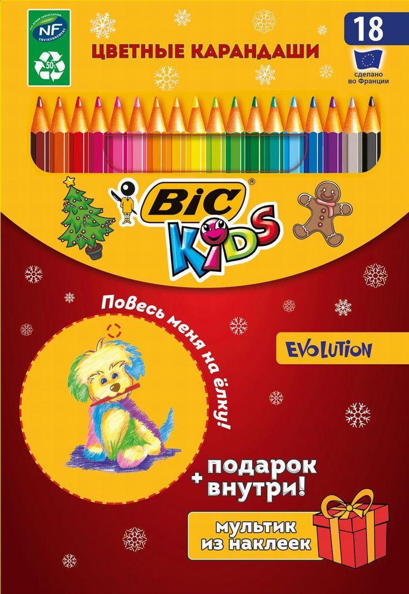 Bic Цветные карандаши Evolution Новогодний набор 18 цветовB953028Новогодняя упаковка знаменитых цветных карандашей BIC Evolution 18 цветов с подарком-вложением станет идеальным подарком к Новому году! Ультрапрочный. Не содержит древесины. Не образует острых краев на изломе – безопасен для детей. Легко точится. Яркие цвета. Привлекательный дизайн с символом года - собакой. Упаковка-конструктор с выдавливаемой елочной игрушкой. В комплекте набор наклеек для создания своего мультика - интересно и оригинально! 2 в 1: черно-белые наклейки можно раскрашивать карандашами из набора! Упаковка оснащена веревочкой-подвесом.