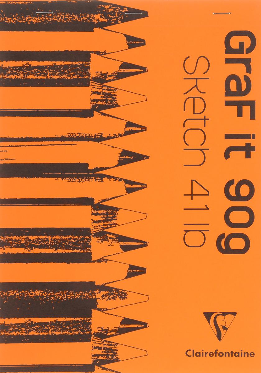 """Блокнот Clairefontaine """"Graf It"""", для сухих техник, с перфорацией, цвет: оранжевый, формат A4, 80 листов"""