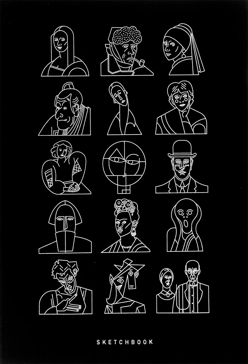 Скетчбук Подписные Издания Портреты, формат А4, 44 листа60001Удобный скетчбук Подписные издания Портреты формата А4 идеально подойдет для тех, кто полностью посвящает себя творчеству.Блокнот содержит 88 страниц (44 листа) из шершавой бумаги цвета слоновой кости.Интегральный книжный переплет находится по длинной стороне.На черной гибкой обложке изображены 15 стилизованных портретов с классических картин великих художников.