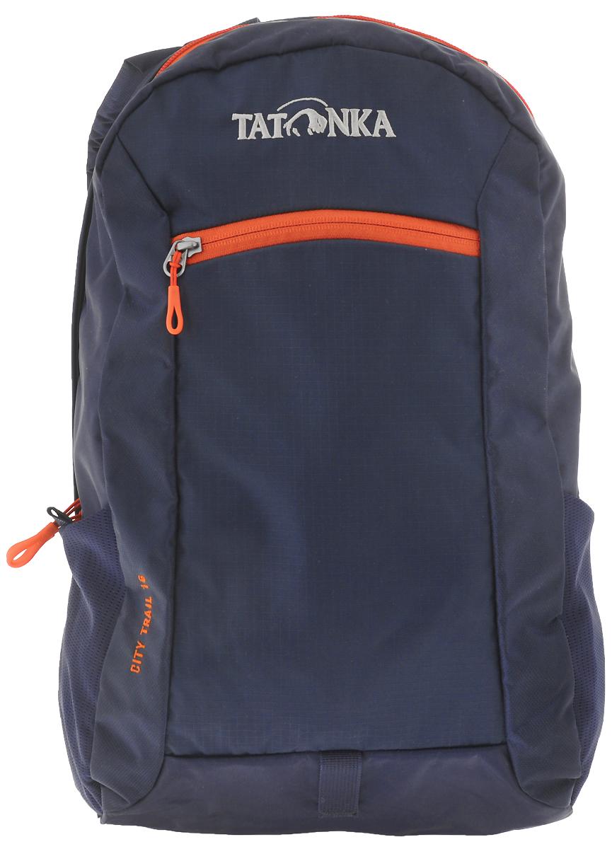 Рюкзак городской Tatonka City Trail 16, цвет: синий, оранжевый, 16 л1632.004_синий, оранжевыйTatonka City Trail - аккуратный и удобный рюкзак для города, оснащен боковыми сетчатыми карманами и центральным карманом на молнии, петлей для крепления фонаря, держателем для ключей. Для удобства переноски он имеет удобную ручку и анатомические мягкие лямки, которые можно отрегулировать по длине.Рюкзак выполнен из полиэстера и нейлона.Размер: 42 x 24 x 12 см.