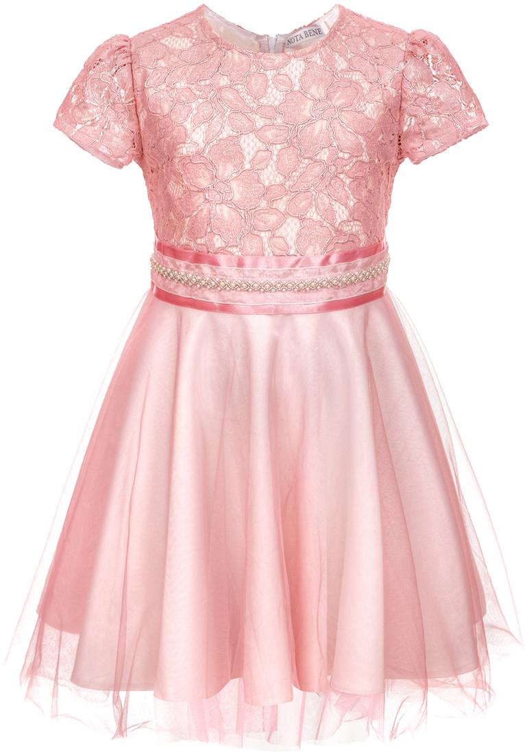 Платье для девочки Nota Bene, цвет: розовый. 17421050205. Размер 12217421050205Нарядное платье для девочки Nota Bene изготовлено из качественного полиэстера. Платье с кружевным верхом и круглой горловиной застегивается сзади на молнию. Модель выполнена с пышной юбкой и широким поясом.