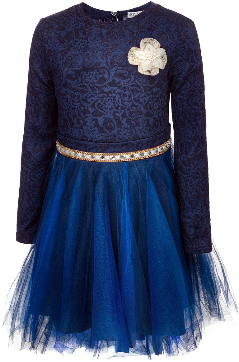 Платье для девочки Nota Bene, цвет: темно-синий. 17421110129. Размер 12817421110129Нарядное платье для девочки Nota Bene изготовлено из качественного полиэстера. Платье с длинными рукавами и круглой горловиной застегивается сзади на пуговицу. Модель выполнена с пышной юбкой и декоративно оформленным поясом.