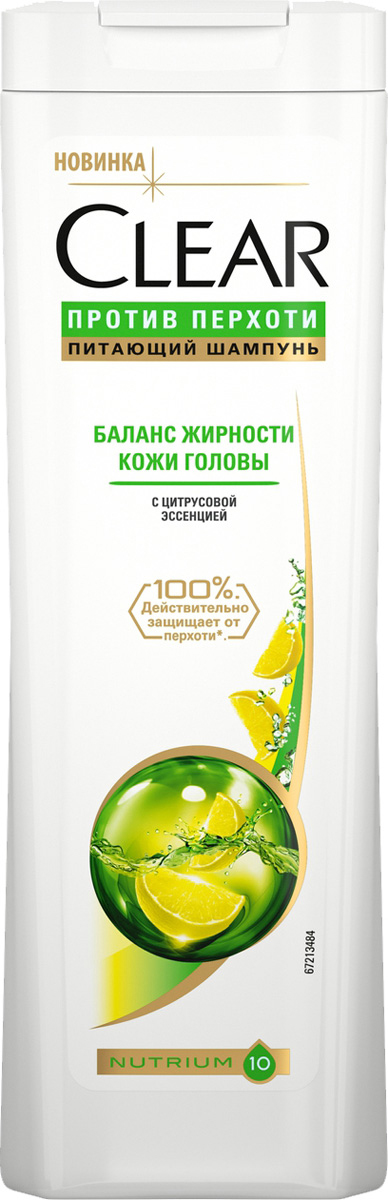 "Clear шампунь против перхоти для женщин ""Баланс жирности кожи головы"", 400 мл"