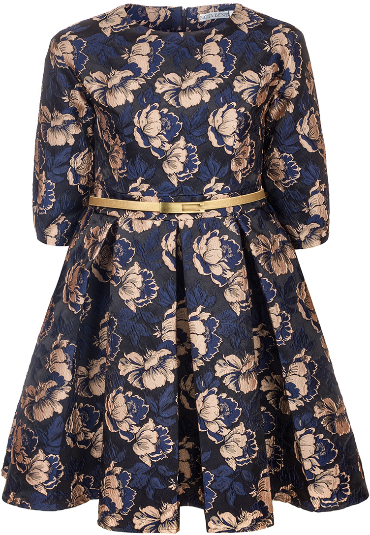 Платье для девочки Nota Bene, цвет: бежевый. 17421130222. Размер 12817421130222Нарядное платье для девочки Nota Bene изготовлено из качественного полиэстера. Платье с круглой горловиной застегивается сзади на молнию. Модель с юбкой в крупную складку и рукавами 3/4 оформлена цветочным принтом.