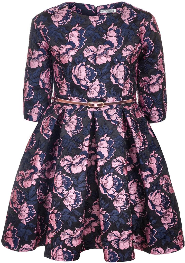 Платье для девочки Nota Bene, цвет: светло-сиреневый. 17421130322. Размер 13417421130322Нарядное платье для девочки Nota Bene изготовлено из качественного полиэстера. Платье с круглой горловиной застегивается сзади на молнию. Модель с юбкой в крупную складку и рукавами 3/4 оформлена цветочным принтом.
