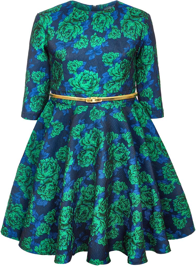 Платье для девочки Nota Bene, цвет: синий. 17421140322. Размер 12817421140322Нарядное платье для девочки Nota Bene изготовлено из качественного полиэстера. Платье с круглой горловиной застегивается сзади на молнию. Модель с юбкой в крупную складку и рукавами 3/4 оформлена цветочным принтом.
