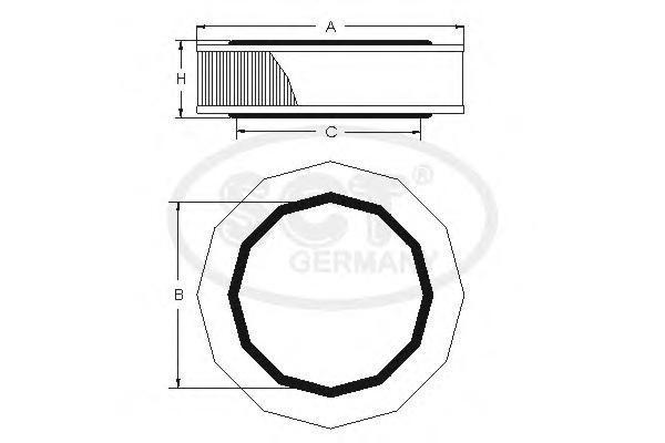 Воздушный фильтр GAZ GAZELLE 2.3/2.4/VOLGA (3102) 2.4SB2050
