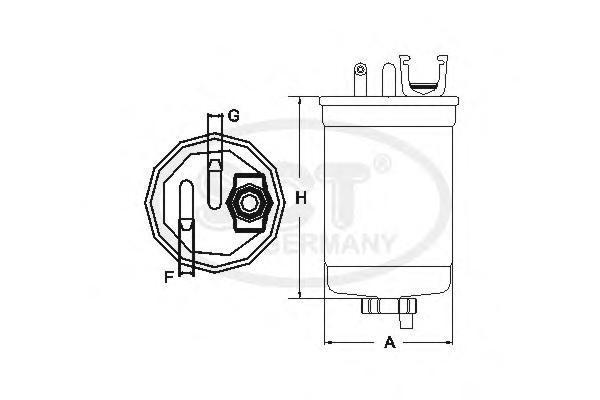 Фильтр топливный VW 97- 1,9-2,8D без клапанаST775