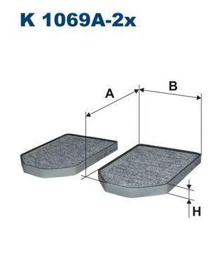 Фильтр салона (угольный) (к/кт 2шт.) AUDI A8 94-02 (4D)K1069A2X