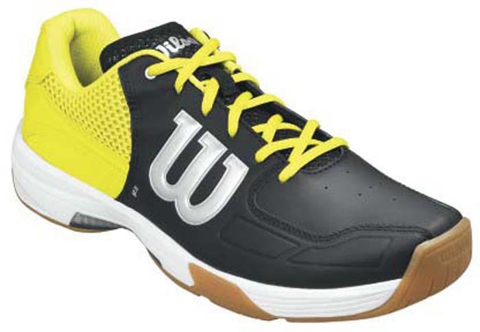 Кроссовки для сквоша мужские Wilson Recon, цвет: черный, желтый. WRS322340. Размер 10 (43,5)WRS322340Мужские кроссовки для сквоша от Wilson выполнены из искусственной кожи со вставками из дышащего текстиля. Классическая шнуровка гарантирует удобство и надежно фиксирует модель на ноге. Съемная стелька EVA с внешней текстильной поверхностью обеспечивает комфорт во время пребывания на улице. Антибактериальная пропитка против запаха.