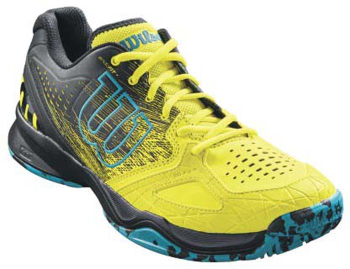 Кроссовки для тенниса мужские Wilson Kaos Comp Safety, цвет: желтый. WRS323260. Размер 12 (46)WRS323260Мужские кроссовки для тенниса от Wilson - легкая и комфортная модель для быстрых и атакующих спортсменов всех возрастов. Кроссовки создают законченный образ с одеждой бренда Wilson. Верх модели выполнен из искусственной кожи со вставками из дышащего текстиля и оформлен названием и логотипом бренда. Классическая шнуровка гарантирует удобство и надежно фиксирует модель на ноге. Технология EndoFit создает идеальный обхват и посадку по ноге. Технология 2D-F.S для устойчивости и стабильности при боковых движениях; шасси Pro-Torque Chassis LT в верхней части подошвы контролирует поверхности при небольшом весе обуви. Технология Dynamic Fit-Dfz дает отличный контакт с кортом. Химически активные вещества R-DST в пяточной части для максимальной амортизации. Технология Duralast для лучшего сцепления с поверхностью корта. Съемная стелька EVA с внешней текстильной поверхностью обеспечивает комфорт во время пребывания на улице. Антибактериальная пропитка против запаха.