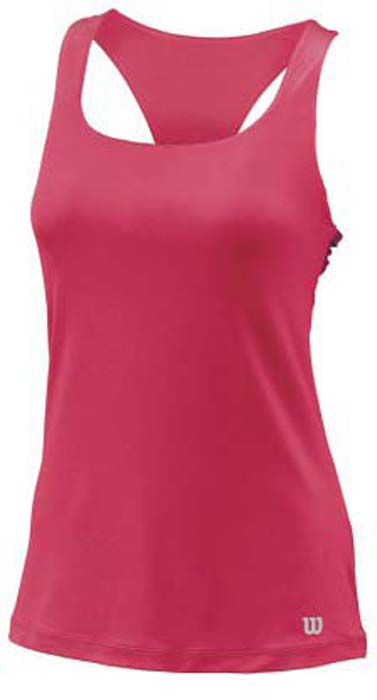Майка для тенниса женская Wilson FW Align Tank, цвет: розовый. WRA760002. Размер L (48)WRA760002Майка женская для тенниса Wilson FW Align Tank изготовлена из полиэстера с добавлением спандекса с уникальной технологией влаговыведения nanoWik. На спинке между бретельками имеется текстильная перемычка.