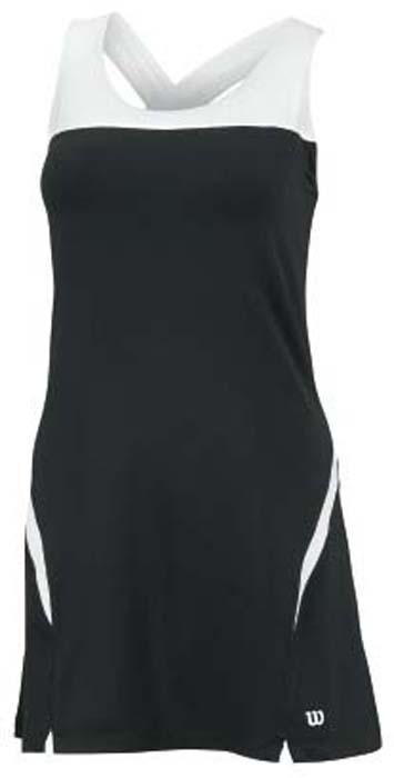 Платье для тенниса Wilson Team Dress II, цвет: черный, белый. WRA709702. Размер L (48)WRA709702Платье для тенниса Wilson Team Dress II выполненное из полиэстера с добавлением спандекса с использованием технологии nanoWIK. Технология nanoWIK создает еще больший комфорт, помогая влаге испаряться с поверхности кожи.Платье приталенного силуэта, длинной до середины бедра с круглым вырезом горловины и перекрещивающимися на спине лямками. Платье дополнено вшитым топом-бра, который по низу дополнен широкой эластичной резинкой, поддерживающей грудь. Модель оформлена оригинальными вставками, а низ дополнен двумя небольшими разрезами. Такая модель подарит вам комфорт во время занятий спортом и активного отдыха.