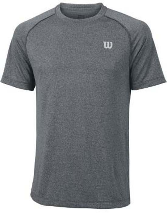Футболка для тенниса мужская Wilson Core Crew, цвет: серый. WRA746402. Размер XL (54)WRA746402Стильная мужская футболка для тенниса Wilson Core Crew, выполненная из качественного материала, обладает высокой теплопроводностью, воздухопроницаемостью игигроскопичностью и великолепно отводит влагу, оставляя тело сухим даже вовремя интенсивных тренировок. Такая футболка превосходно подойдет длязанятий спортом и активного отдыха.Модель с короткими рукавами и круглым вырезом горловины - идеальный вариантдля занятий спортом. Такая футболка обеспечит свободу движений. Эргономичные швы минимизируют натирание кожи, исключая дискомфорт.Такая футболка подарит вам комфорт в течение всей игры и послужит замечательным дополнением к вашему гардеробу.