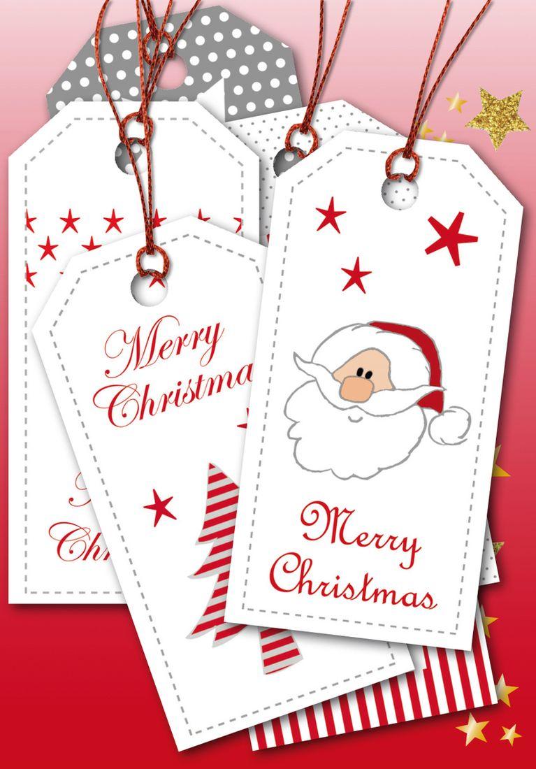 Herma Бирки для подарков Новый Год цвет красный серебристый 8 x 4 см