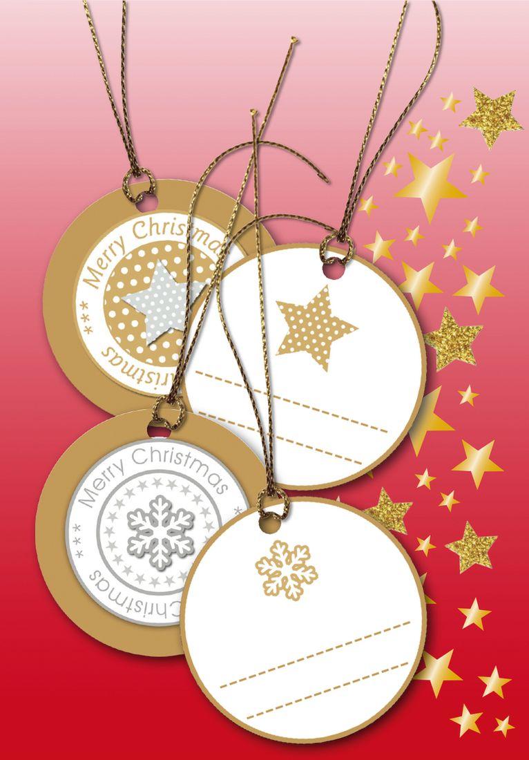 Herma Бирки для подарков Новый Год 3D цвет золотой диаметр 5 см15276Бирки на металлизированных нитях с Новогодней тематикой для украшения поздравительных открыток, декорирования и подписания подарков.
