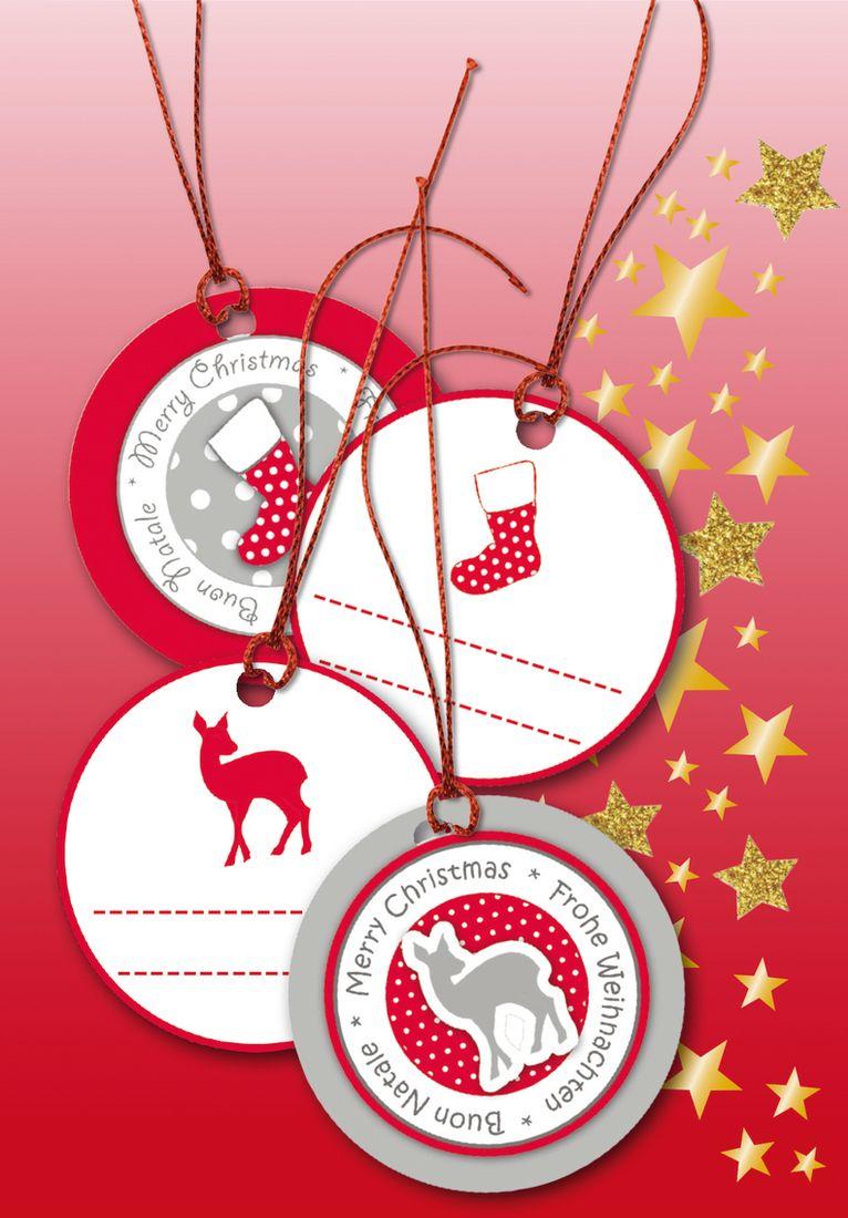 Herma Бирки для подарков Новый Год 3D цвет красный с серебром диаметр 5 см