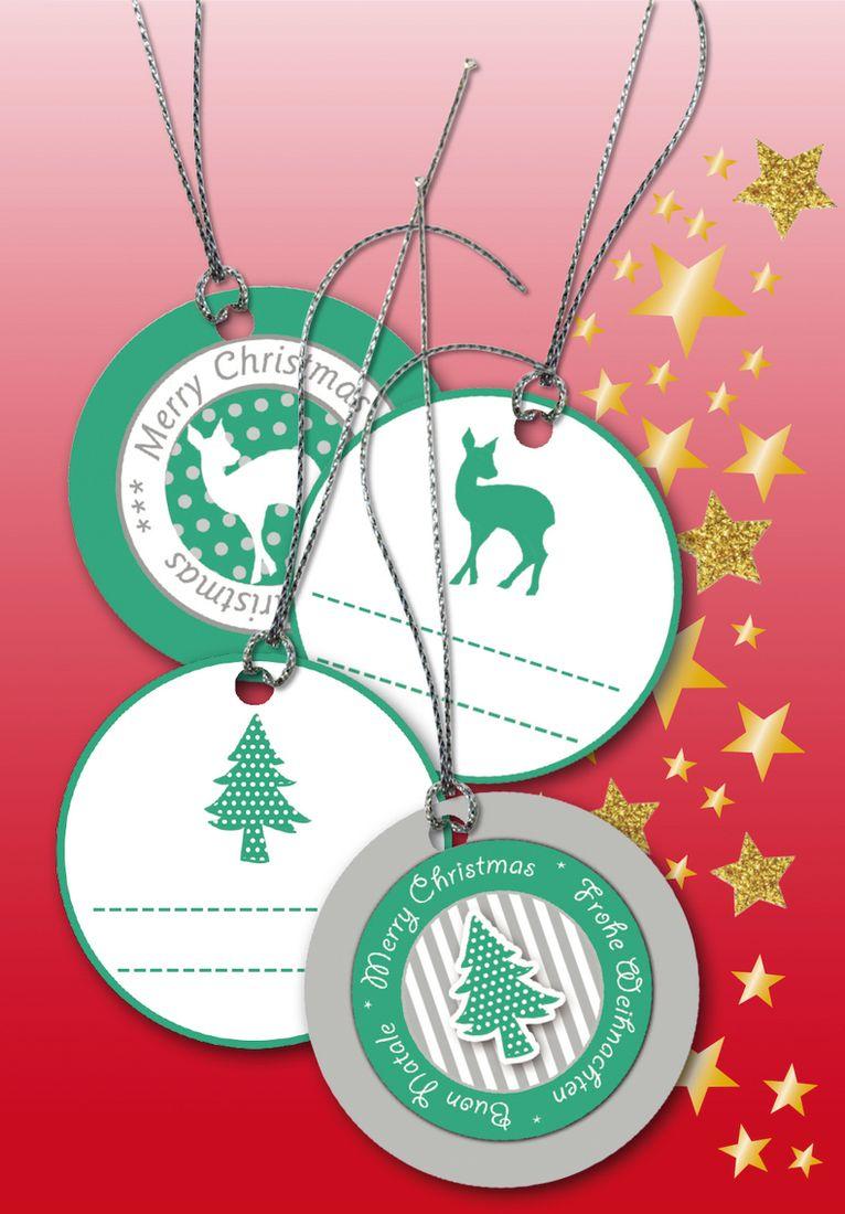 Herma Бирки для подарков Новый Год 3D цвет зеленый с серебром диаметр 5 см