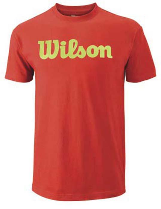 Футболка для тенниса мужская Wilson Script Cotton Tee, цвет: оранжевый. WRA747804. Размер L (52)WRA747804Стильная мужская футболка для тенниса Wilson Script Cotton Tee, выполненная из качественного материала, обладает высокой теплопроводностью, воздухопроницаемостью игигроскопичностью и великолепно отводит влагу, оставляя тело сухим даже вовремя интенсивных тренировок. Такая футболка превосходно подойдет длязанятий спортом и активного отдыха.Модель с короткими рукавами и круглым вырезом горловины - идеальный вариантдля занятий спортом. Такая футболка обеспечит свободу движений. Эргономичные швы минимизируют натирание кожи, исключая дискомфорт.Такая футболка подарит вам комфорт в течение всей игры и послужит замечательным дополнением к вашему гардеробу.
