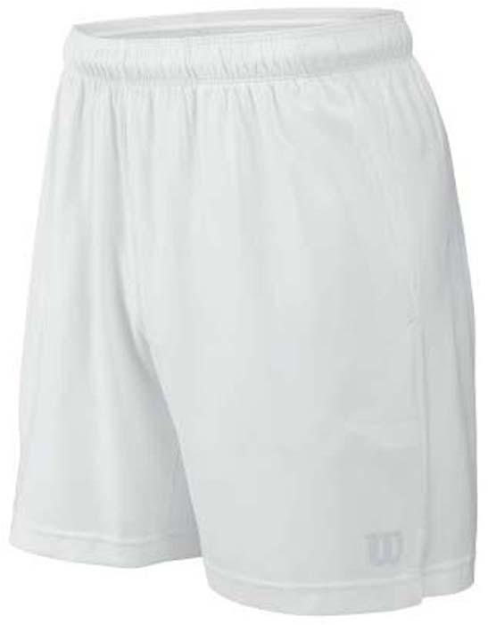 Шорты для тенниса мужские Wilson Rush 9 Woven, цвет: белый. WRA746701. Размер S (46)WRA746701Мужские шорты для тенниса Wilson Rush 9 Woven - это незаменимый атрибут в гардеробе любого спортсмена. Стильные удобные шортывыполнены из 100% полиэстера, благодаря чему превосходно сидят, не стесняют движений и великолепно отводят влагу, оставляя тело сухим даже во время интенсивных тренировок.Модель дополнена широкой эластичной резинкой на талии. Шорты имеют два втачных кармана спереди. Устремляясь за очередным укороченным ударом и высоким мячом, используйте всю силу ног, а легкие шорты помогут вам в этом: они подаряткомфорт и полную свободу движений. Эти модные шорты послужат отличным дополнением к вашему спортивному гардеробу. В них вы всегдабудете чувствовать себя уверенно и комфортно.