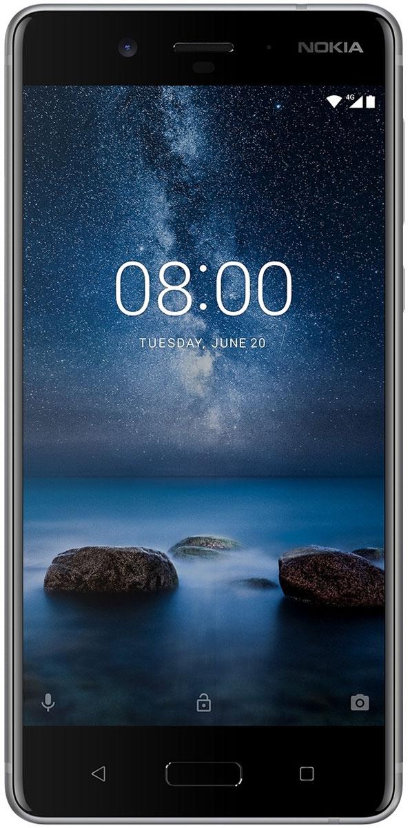 Nokia 8 DS, Stainless Steel11NB1S01A09Процесс изготовления металлического корпуса Nokia 8 состоит из 40 этапов, включая тщательную выточку из цельного куска алюминия, анодирование и полировку. Благодаря безукоризненной моноблочной конструкции Nokia 8 идеально лежит в руке.Уникальная функция двусторонней съемки позволяет одновременно использовать фронтальную и основную камеру, отображая на экране сразу два фото или видео.В телефоне есть встроенная функция потоковой передачи видео прямо в Facebook Live и YouTube Live. Одним касанием делитесь своим творчеством со всем миром.Nokia 8 оснащается основной двойной камерой 13 Мпикс с цветным и монохромным сенсорами, которая обеспечивает слияние двух изображений, а также широкоугольной фронтальной камерой 13 Мпикс с фазовым автофокусом. В обеих камерах использованы объективы ZEISS, так что каждый ваш снимок может стать шедевром.Это первый телефон со встроенной поддержкой технологии объемного 360° звука Nokia OZO, позволяющий записывать реалистичное видео с 3D звуком и наслаждаться безукоризненным воспроизведением. Записывайте лучшие моменты в мельчайших деталях с помощью настоящих голливудских технологий - качество видео и звука превзойдет все ваши ожидания.Ваши творения заслуживают, чтобы их увидели в наилучшем качестве Поляризованный 2К дисплей с диагональю 5,3 дюйма обеспечивает яркие, насыщенные цвета и высочайшую четкость. Снимайте захватывающие видео с объемным звуком Nokia OZO, которые хочется смотреть снова и снова.В Nokia 8 используется передовая мобильная платформа Qualcomm Snapdragon 835, обеспечивающая невероятно длительную работу от аккумулятора. Кроме того, мы оснастили смартфон передовой системой охлаждения, в основе которой медная трубка с графитовым экраном для равномерного распределения тепла по всему корпусу телефона.Nokia 8 поставляется с чистой операционной системой Android Nougat 7.1.1 и всеми сервисами Google без лишних дополнений и оболочек. Благодаря регулярным обновлениям обеспечивается высокий урове
