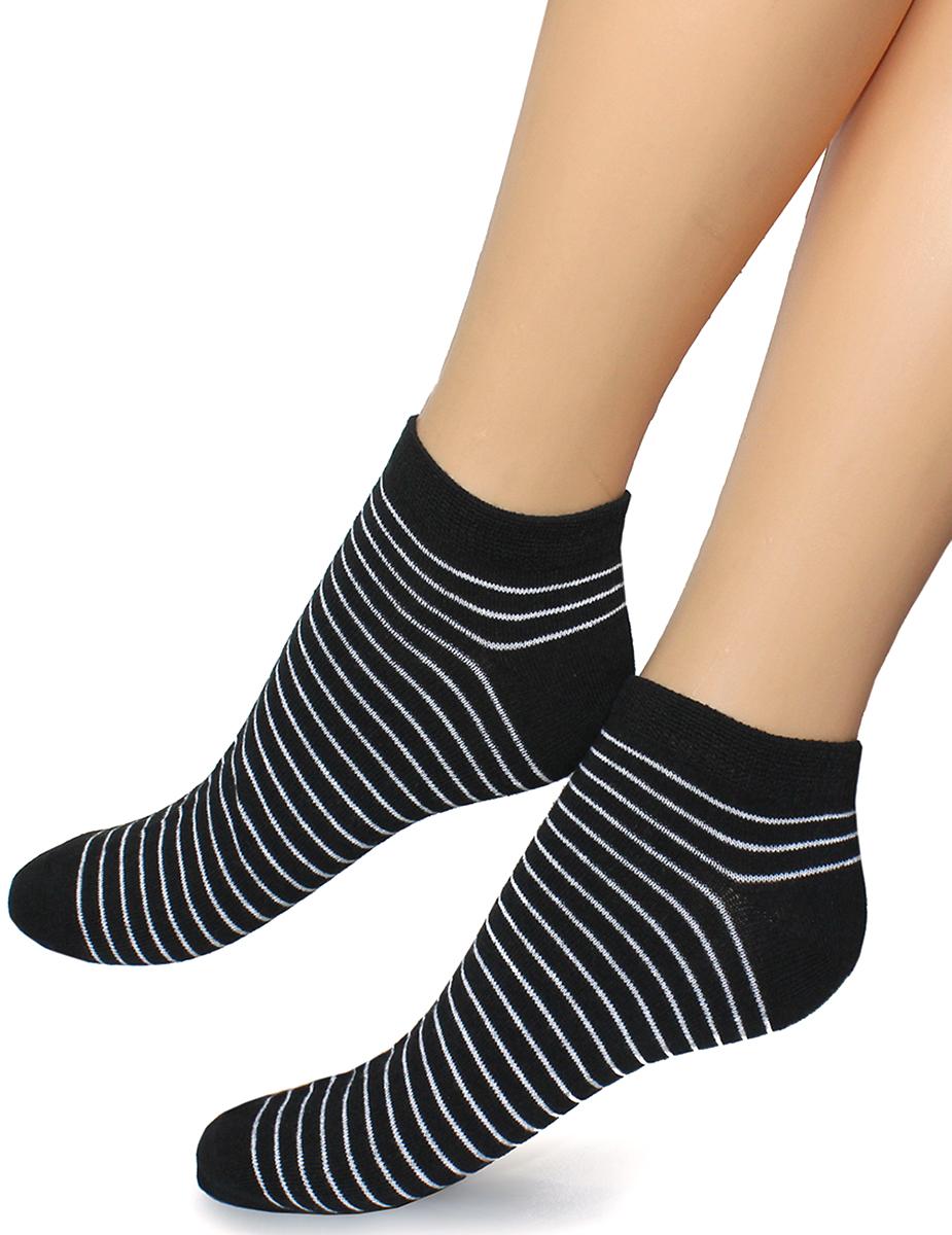 Носки женские Touch Gold, цвет: черный. 354. Размер 23/25354Укороченные женские носки черного цвета с классическими полосками. Носить такое изделие удобно и приятно.