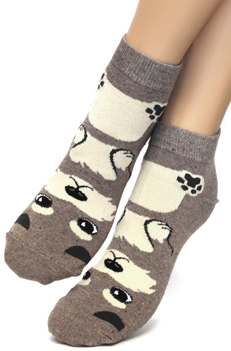 Носки женские Touch Gold, цвет: коричневый. 358. Размер 23/25358Классические женские носки с рисунком в виде милой собачки. Данная модель со средним паголенком разбавит ваш традиционный ассортимент одежды для ног.