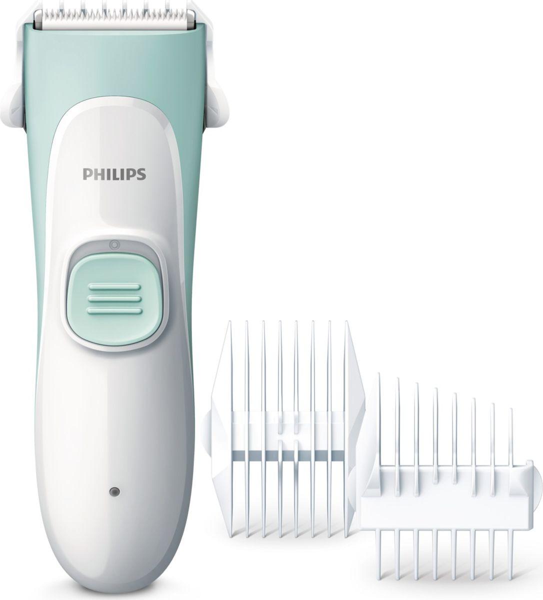 Philips HC1066/15 детская машинка для стрижки волосHC1066/15Благодаря бесшумному мотору, специальным лезвиям с закругленными кончиками, множеству гребней и водонепроницаемой конструкции детская машинка для стрижки волос Philips HC1066/15 позволяет создать безупречную стрижку ребенку в комфортной домашней обстановке.Маркировка IPX 7 означает, что корпус машинки водонепроницаем. После использования ее можно легко и безопасно мыть в воде.Безопасная система лезвий с укороченными керамическими ножами и закругленными лезвиями легко и бережно захватывает и подстригает мягкие детские волосы, не оставляя царапин на коже.Благодаря невероятно низкому уровню шума во время работы — всего 55 дБ (A) — стрижка не доставит беспокойства ребенку.Благодаря специальным узким лезвиям можно с легкостью подстригать волосы на маленькой детской голове даже в труднодоступных местах вокруг ушей.
