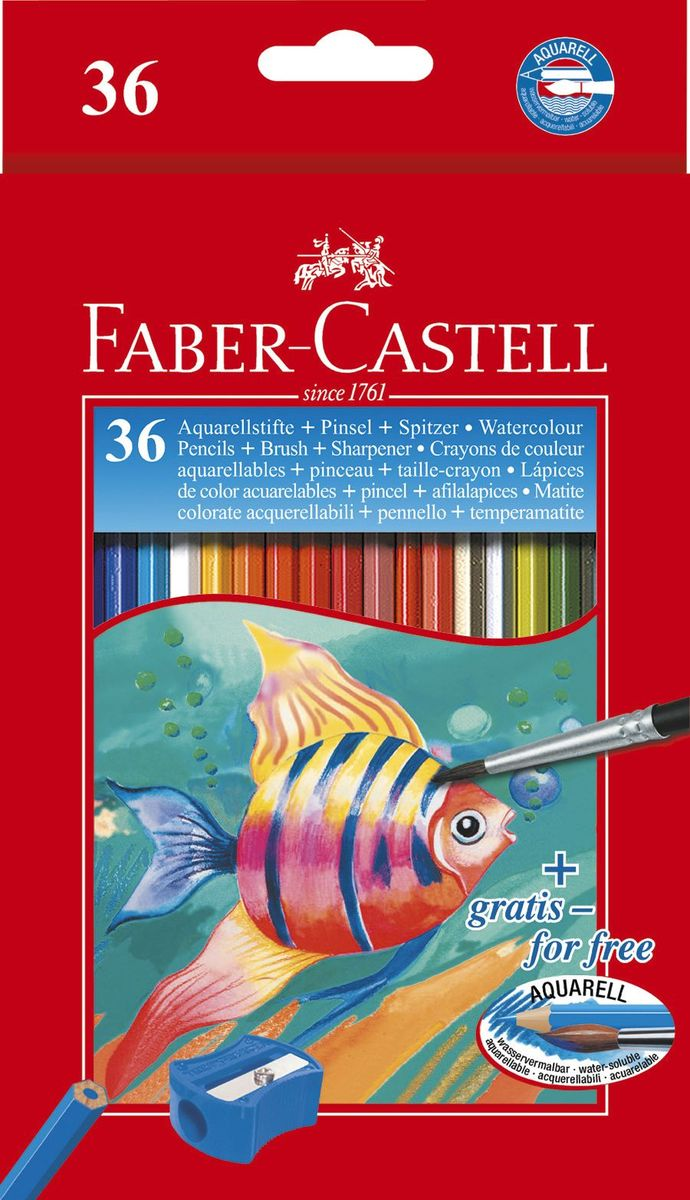 Faber-Castell Акварельные карандаши Рыбки с кисточкой 36 шт faber castell восковые карандаши клоун 24 цвета