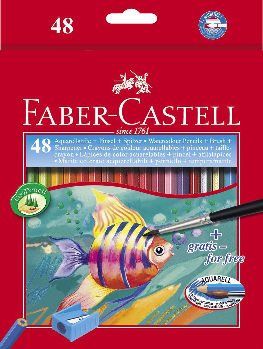 Faber-Castell Акварельные карандаши Рыбкис кисточкой 48 шт114448Акварельные карандаши• шестигранная форма • грифель, размываемый водой• толщина грифеля 3 мм• яркие, насыщенные цвета, набор цветов, в картонной коробке, 48 шт. с кисточкой и точилкой • отстирываются с большинства обычных тканей• специальная технология вклеивания (SV) предотвращает поломку грифеля• покрыты лаком на водной основе – бережным по отношению к окружающей средеи здоровью детей• качественная древесина – гарантия легкого затачивания при помощи стандартных точилок.
