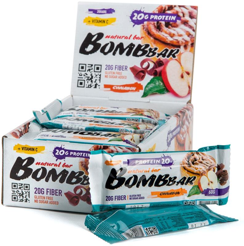 """""""Bombbar"""" - это спортивный батончик с высоким содержанием протеина и минимальным количеством сахара. Обладает восхитительным вкусом, быстро снабжает организм многокомпонентным протеином, отлично подходит для белковой диеты.Протеиновый батончик """"Bombbar"""":- поможет снизить вес,- питает мышечную массу,- придает эффект сытости,- улучшает общее состояние системы пищеварения,- способствует росту полезной микрофлоры,- способствует подержанию здорового уровня сахара в крови,- не содержит сахар,- не содержит ГМО.Состав: белки 40% (концентрат сывороточного белка, концентрат молочного белка), изомальтоолигосахарид, вода, эквивалент масла какао, яблоко сушеное, шоколад (сахар, какао-масса, какао-масло), эмульгатор- соевый лецитин, корица, агент влагоудерживающий (глицерин, сорбитол), соль, ароматизаторы натуральные, регулятор кислотности - лимонная кислота, аскорбиновая кислота (витамин С), натуральный подсластитель - стевиозид. Может содержать следы арахиса. Содержит сорбит: при чрезмерном употреблении может оказывать слабительное действие.  Как повысить эффективность тренировок с помощью спортивного питания? Статья OZON Гид"""