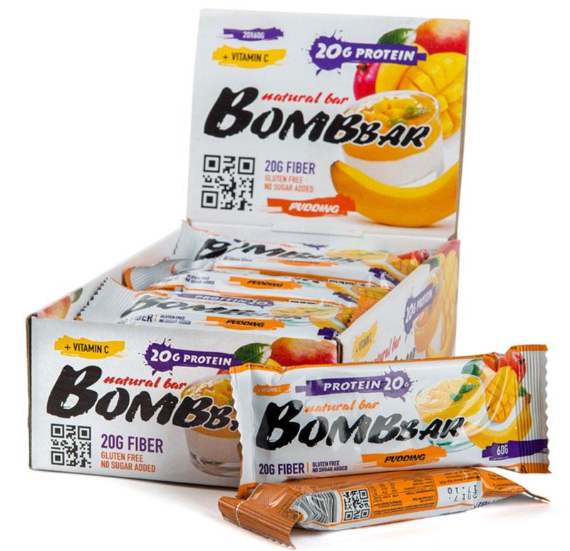 Батончик протеиновый Bombbar, манго, банан, 20 шт х 60 г14620020960578Bombbar - это спортивный батончик с высоким содержанием протеина и минимальным количеством сахара. Обладает восхитительным вкусом, быстро снабжает организм многокомпонентным протеином, отлично подходит для белковой диеты.Протеиновый батончик Bombbar:- поможет снизить вес,- питает мышечную массу,- придает эффект сытости,- улучшает общее состояние системы пищеварения,- способствует росту полезной микрофлоры,- способствует подержанию здорового уровня сахара в крови,- не содержит сахар,- не содержит ГМО.Состав: белки 40% (концентрат сывороточного белка, концентрат молочного белка), изомальтоолигосахарид, вода, эквивалент масла какао, банан порошок, манго порошок, агент влагоудерживающий (глицерин, сорбитол), соль, ароматизаторы натуральные, регулятор кислотности - лимонная кислота, аскорбиновая кислота (витамин С), натуральный подсластитель - стевиозид. Может содержать следы арахиса. Содержит сорбит: при чрезмерном употреблении может оказывать слабительное действие.Как повысить эффективность тренировок с помощью спортивного питания? Статья OZON Гид