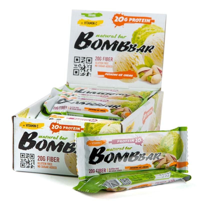 Батончик протеиновый Bombbar, фисташковый пломбир, 20 шт х 60 г14620020960776Bombbar - это спортивный батончик с высоким содержанием протеина и минимальным количеством сахара. Обладает восхитительным вкусом, быстро снабжает организм многокомпонентным протеином, отлично подходит для белковой диеты.Протеиновый батончик Bombbar:- поможет снизить вес,- питает мышечную массу,- придает эффект сытости,- улучшает общее состояние системы пищеварения,- способствует росту полезной микрофлоры,- способствует подержанию здорового уровня сахара в крови,- не содержит сахар,- не содержит ГМО.Состав: белки 40% (концентрат сывороточного белка, концентрат молочного белка), изомальтоолигосахарид , вода, фисташка дробленая, эквивалент масла какао, агенты влагоудерживающие (глицерин, сорбитол), соль, ароматизаторы натуральные, регулятор кислотности - лимонная кислота, краситель натуральный - хлорофиллин, аскорбиновая кислота(витамин С), подсластитель - стевиозид.Как повысить эффективность тренировок с помощью спортивного питания? Статья OZON Гид
