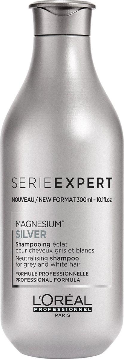 LOreal Professionnel Expert Expert Magnesium Silver Shampoo Шампунь для седых волос, 300 млE2317600Седым волосам нужен особо бережный уход. Чтобы сохранить их мягкость и эластичность, а также избавиться от неэстетичных желтых и серых оттенков, эксперты популярного бренда LOreal Professionnel разработали шампунь Magnesium Silver. Формула средства также подходит для использования обладательницами натуральных и окрашенных светлых волос. Регулярное применение обеспечивает красивый платиновый оттенок. Нежные пенители очищают кожу головы и пряди по длине от излишков кожного жира, пота и загрязнений, не повреждая их структуру и не пересушивая кожный покров. Увлажняющие компоненты восстанавливают блеск и эластичность локонов, даруя шелковистость и потрясающую мягкость. Волосы легко укладываются и не пушатся. Объем: 300 мл