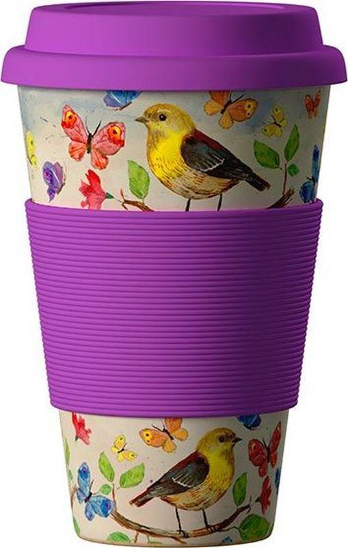 Стакан BambooCup Птицы, экологичный, 400 мл280-469BambooCup Птицы - термо эко-кружка, изготовленная из органических, натуральных, стерильных бамбуковых волокон в комбинации с кукурузной мукой и смолой из аминокислот. Экологичная утилизация - просто сомните, прокипятите в кипящей воде и поместите в органический компост.