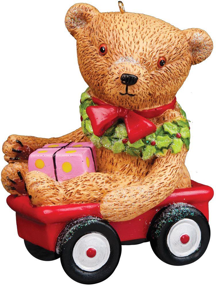Нарядный медвежонок в тачке одинаково гармонично смотрится и на елке, и рядом с ней. Можно использовать в качестве сувенира. Новогодние украшения всегда несут в себе волшебство и красоту праздника. Создайте в своем доме атмосферу тепла, веселья и радости, украшая его всей семьей.
