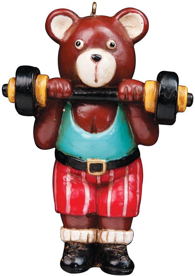 Медвежонок со штангой выполнен в ретро-стиле. Оригинальное украшение для елки. Новогодние украшения всегда несут в себе волшебство и красоту праздника. Создайте в своем доме атмосферу тепла, веселья и радости, украшая его всей семьей.
