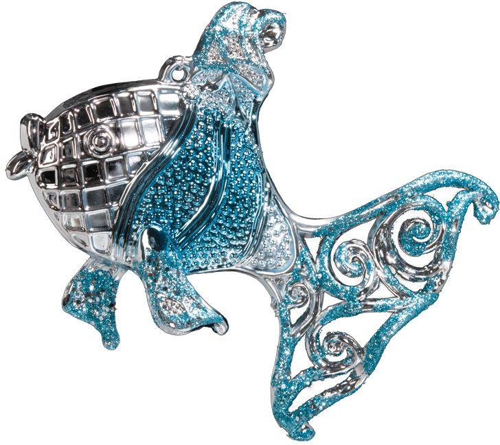 Украшение в виде рыбки выполнено в голубом цвете и декорировано блестками. Фигурки животных всегда пользуются большой популярностью, и спрос на них является стабильно высоким. Новогодние украшения всегда несут в себе волшебство и красоту праздника. Создайте в своем доме атмосферу тепла, веселья и радости, украшая его всей семьей.