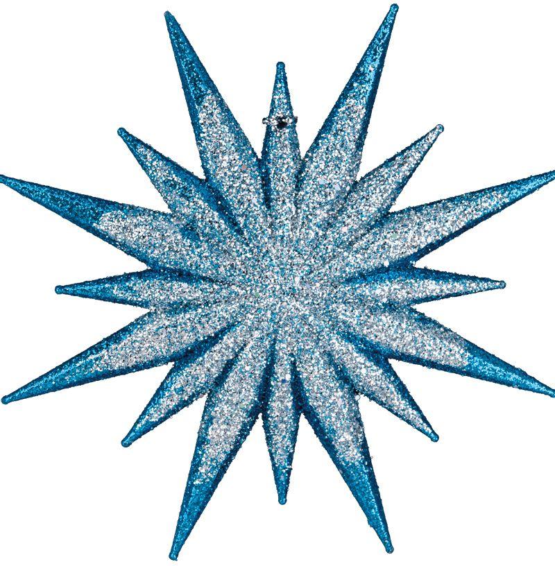 Украшение в виде звезды привлекает внимание объемом и тонким рельефом. Насыщенный голубой цвет красиво подчеркивают сверкающие блестки. Новогодние украшения всегда несут в себе волшебство и красоту праздника. Создайте в своем доме атмосферу тепла, веселья и радости, украшая его всей семьей.