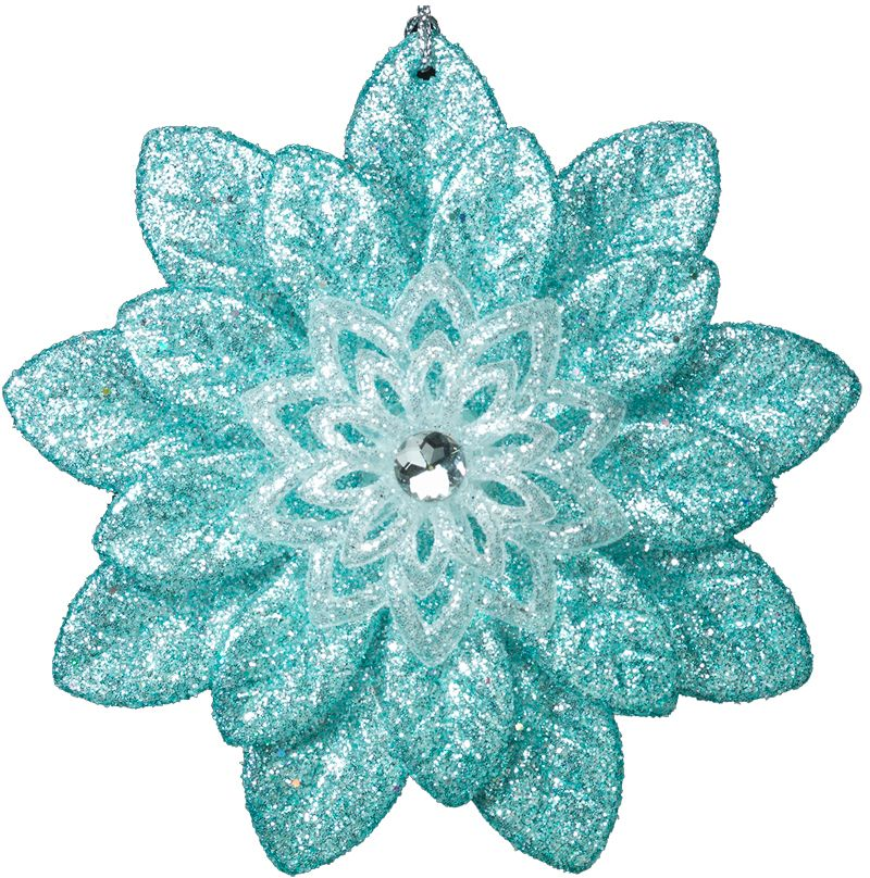 Многочисленные листья нежно-бирюзового цветка сходятся в центре к белой сердцевине, увенчанной кристаллом. Все украшение обильно усыпано тончайшими блестками. Новогодние украшения всегда несут в себе волшебство и красоту праздника. Создайте в своем доме атмосферу тепла, веселья и радости, украшая его всей семьей.
