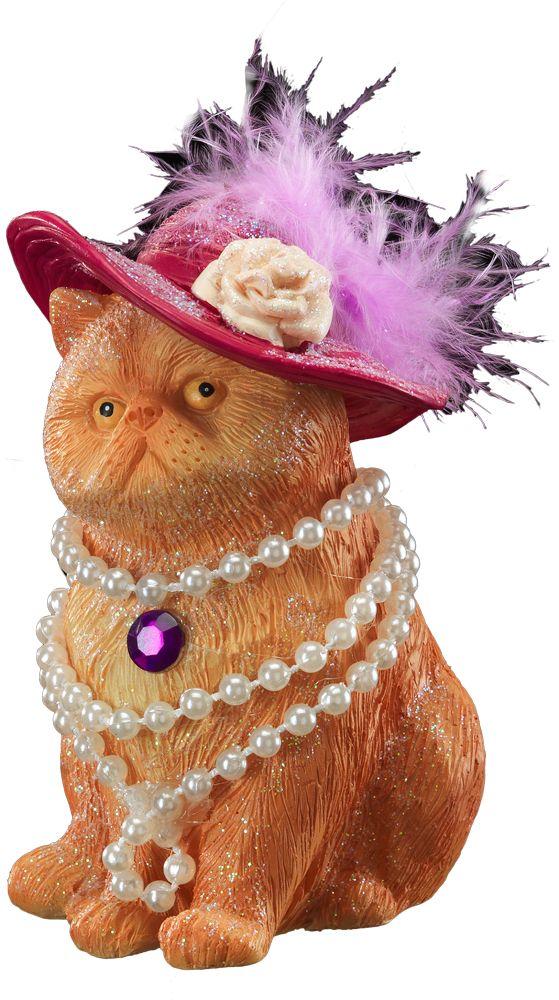 Украшение для интерьера новогоднее Erich Krause Мадам в жемчугах, 9 см41086Крупная кошка,выполненная из полирезины, очаровывает большой розовой шляпой с пером и красивой ниткой жемчуга на шее. Украшение больше подходит для декора искусственных елок, а также в качестве сувенира. Упаковка предназначена только для безопасной транспортировки и хранения.