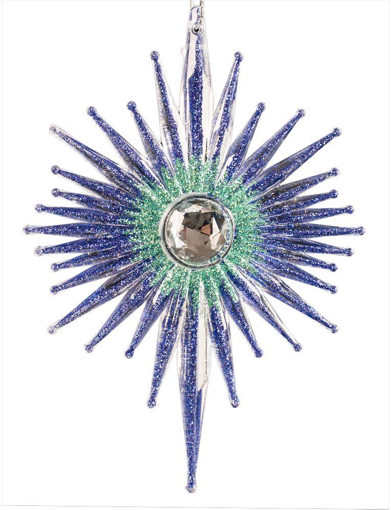 Украшение для интерьера новогоднее Erich Krause Звезда фортуны, 14 см43675Елочное украшение необычной лучистой формы завораживает ярким фиолетовым цветом. Большая страза в центре изделия и яркие блестки добавляют изделию загадочность. Упаковка - полибэг.