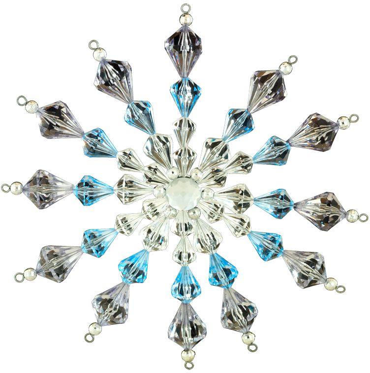 Украшение для интерьера новогоднее Erich Krause Снежинка кристальная, 17 см43713Большая снежинка выполненная из прозрачных и голубых акриловых бусин, похожа на изделие из хрусталя. В свете гирлянд такое украшение загадочно переливается. Представлено две модели в ассортименте, находятся в групповой упаковке в равных долях. Выбор модели невозможен. Упаковка - полибэг.