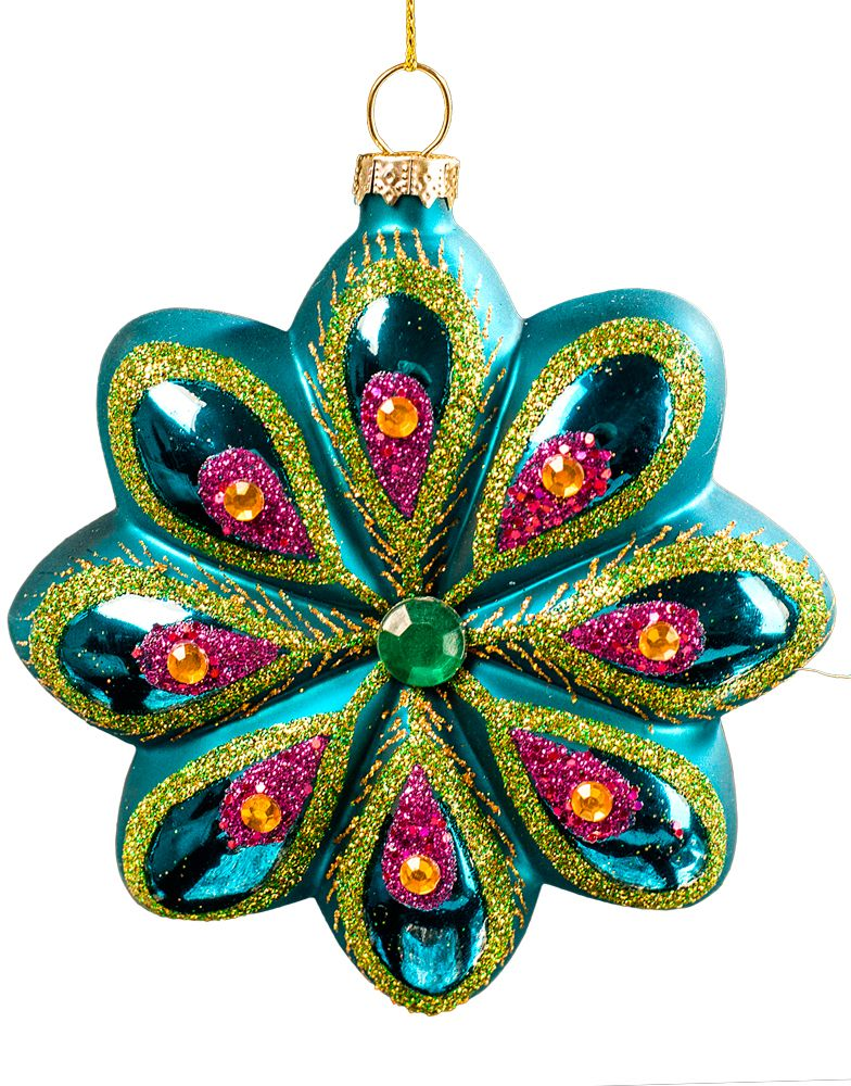 Новогоднее подвесное украшение Erich Krause Цветок восточный, высота 10 см43765Красочное украшение из высококачественного стекла с матовой поверхностью выполнено в форме цветка. Лепестки спереди глянцевые и декорированы искристыми стразами и блестками.Новогодние украшения всегда несут в себе волшебство и красоту праздника. Создайте в своем доме атмосферу тепла, веселья и радости, украшая его всей семьей.