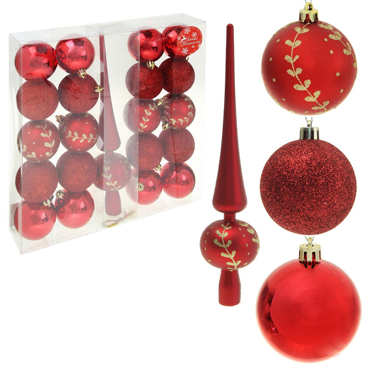 Набор новогодних подвесных украшений Sima-land Веточка, цвет: красный, 21 шт1346693