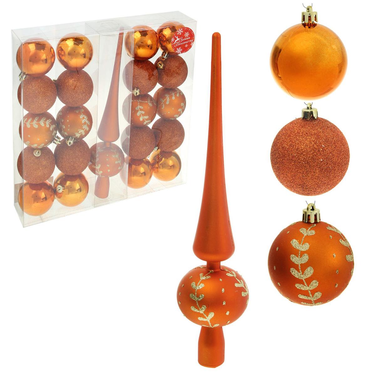 Набор новогодних подвесных украшений Sima-land Веточка, цвет: темное золото, 21 шт1346744